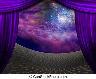 カーテン, 砂, 砂漠