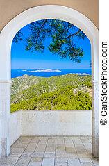 カーテン, 窓, によって, 風景, 自然