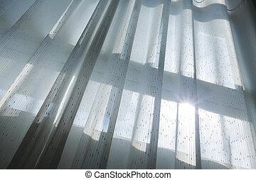 カーテン, 窓, 白, ひだのある布, 掛かること