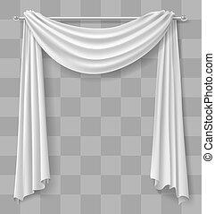 カーテン, 窓, 白, ひだのある布