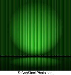 カーテン, 緑, ステージ