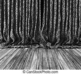 カーテン, 背景, 木製である, 花, 床, 型