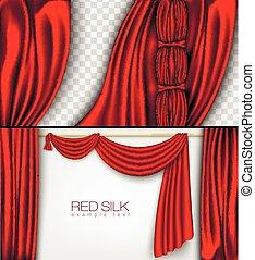 カーテン, 色, 絹, 隔離された, 赤