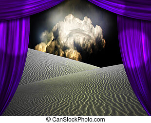 カーテン, 開始, によって, 砂, 見られた, 砂漠