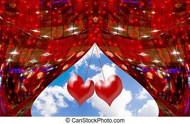 カーテン, 雲, 抽象的, 空, 窓, 心, 飾られる, 赤