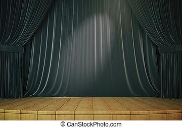 カーテン, 黒, ステージ