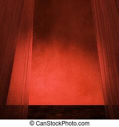 カーテン, 3d, 赤, 部屋