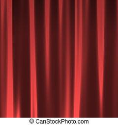 カーテン, seamless, 赤, パターン