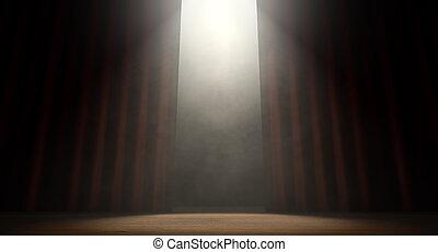 カーテン, spotlit, ステージ
