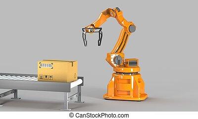 カートン, セット, 交通機関, ロボット, 水力である, 隔離された, 機械, 箱, イラスト, 機械工, 使うこと, 白, パッキング, 腕, 特別