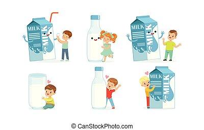 カートン, ミルク, ベクトル, セット, 楽しい時を 過すこと, 大きい, 子供, わずかしか