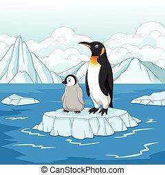 カートン, 母 と 赤ん坊, ペンギン, 上に, 流氷