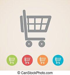 カート, アイコン, 買い物