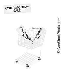 カート, 旗, 買い物, cyber, 月曜日