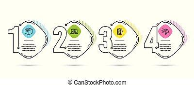 カート, 箱, 小包, 追跡, 小包, 出産, 印。, 押し, lift., icons., ウェブサイト, ベクトル, 出荷, オンラインで, エレベーター