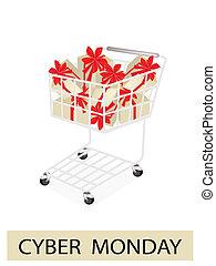 カート, 買い物, cyber, 月曜日, ラベル
