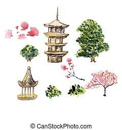 カード, ∥あるいは∥, ポスター, ∥で∥, アジア, 風景, 建物, そして, 開くこと, sakura, ブランチ, 木, 中に, 伝統的である, 日本語, sumi-e, style.