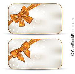 カード, かわいい, セット, お辞儀をする, 贈り物