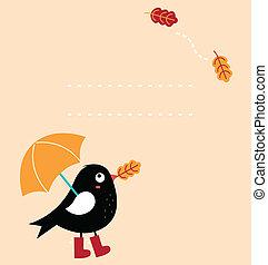 カード, (, かわいい, 鳥, 挨拶, ベクトル, 漫画, ), 秋