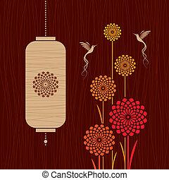 カード, ∥で∥, 鳥, 花, そして, lanter