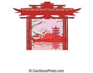 カード, アジア人, 風景