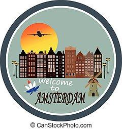 カード, アムステルダム, -, 歓迎, 挨拶, 型