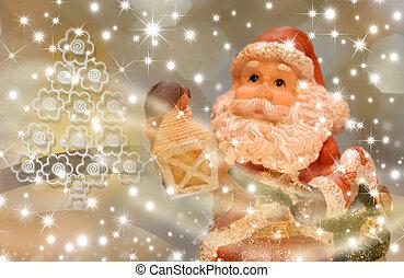 カード, イブ, santa, クリスマス