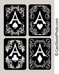 カード, エース, ポーカー, セット