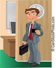 カード, オフィス, ビジネス男