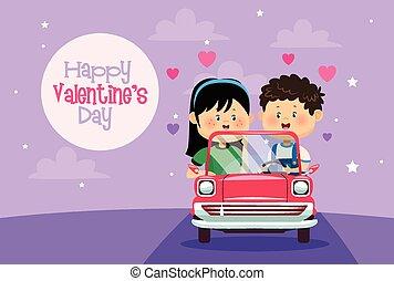 カード, カート, バレンタイン, 子供, わずかしか, 恋人, 日, かわいい
