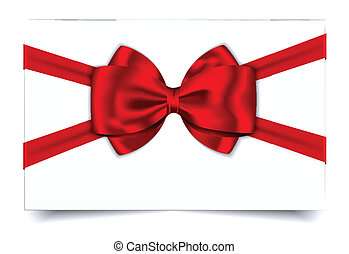 カード, ギフトの弓, 赤い白, リボン