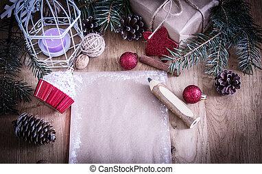 カード, クリスマス, 挨拶, バックグラウンド。, 鉛筆