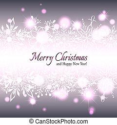 カード, クリスマス, 挨拶, 星, 雪片
