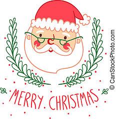 カード, クリスマス, santa