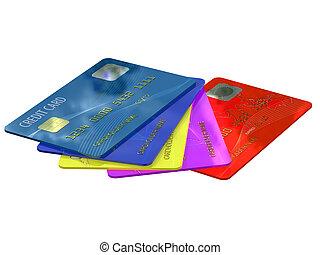 カード, クレジット, カラフルである