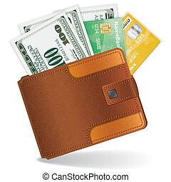 カード, クレジット, ドル, 財布