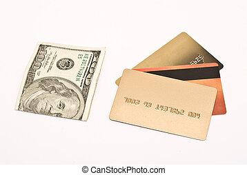 カード, クレジット, 上に, 白