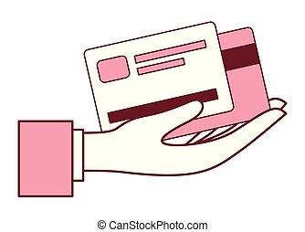 カード, クレジット, 手