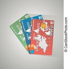 カード, クレジット, 3, カード