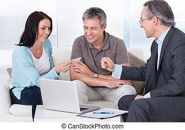 カード, コンサルタント, 恋人, ビジネス, 提供