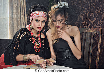 カード, ジプシー, 占い師, 発作