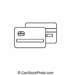 カード, スタイル, アイコン, アウトライン, クレジット