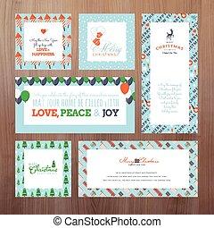 カード, セット, クリスマス, 挨拶
