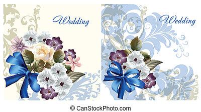 カード, セット, 招待, 結婚式