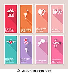 カード, セット, 日, バレンタイン