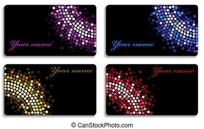 カード, セット, 黒, ビジネス