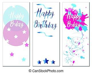 カード, セット, birthday
