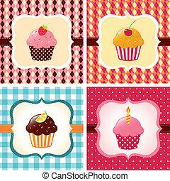 カード, セット, cupcake