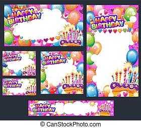 カード, テキスト, セット, 場所, birthday