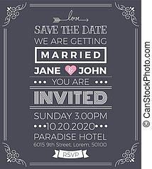カード, テンプレート, 型, 招待, 結婚式